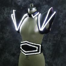 Luminous costume armor LED light dress ballet suit for club party stange dancer wear B model welcome OEM order(China)