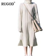Buy RUGOD 2017 Women casual Sweater Dress Autumn Winter Fashion turtleneck Bodycon Basic long Solid Color Knitted Dress Pullover for $28.73 in AliExpress store