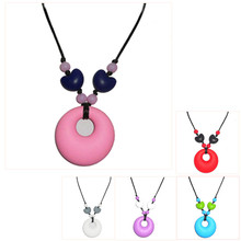 2016 Newest Food grade Silicone teething beads necklace little circle pendant necklace safty for baby and mommy hot sale ST3017
