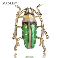 Madrry Enamel Esmalte Cicada Insect Shape Brooches For Women Gold Color Crystal Alloy Brooch Pins Coat Hats Clips Accessories(China)