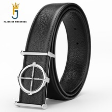 Buy FAJARINA 2017 New Arrival Design Men's Cowhide Belt Genuine Crosss Smooth Buckle Black Belts Men Leather Mens LUFJ526 for $24.96 in AliExpress store