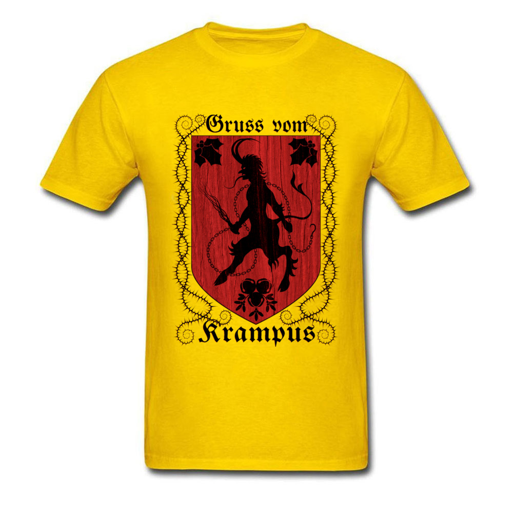 Greetings From Krampus Mens Tshirt Fitted Normal Tops Shirt ostern Day Cotton Fabric Round Collar Tee Shirts Short Sleeve Greetings From Krampus yellow