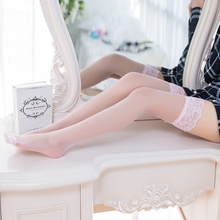 1 Pair New Lady Striped Kni Sexy Lace Top Stay Up Long Mesh Thigh High Stockings Nightclubs Over Knee Pantyhose Medias For Woman