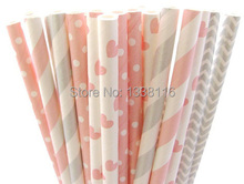 125pcs Light Pink and Silver Party Paper Straws Mixed 5 Patterns 01,Party Supplies Paper Drinking Straws wholesale