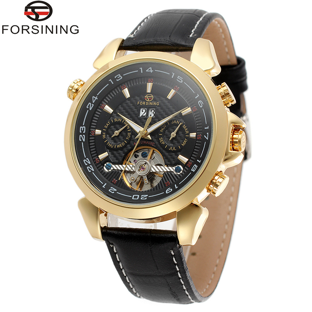 FORSINING Brand Mens Genuine Leather Strap Tourbillon Automatic Mechanical Watch Fashion Elegant Male Wristwatch Relogio Releges<br>