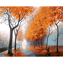 scenery picture 40X50cm oil painting by numbers with frame on the wall home decoration wall art autumn canvas paintings 8042(China)