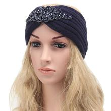 Drop shipping new winter knitting wool headband ladies handmade Warm diamond Headband Bohemia style Headwrap Hairband
