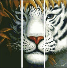 Factory Sale Needlework Embroidery Cross Stitch Kit Big Triplet Tiger Head Animal You Can Choose 18CT/16CT/14CT/11CT