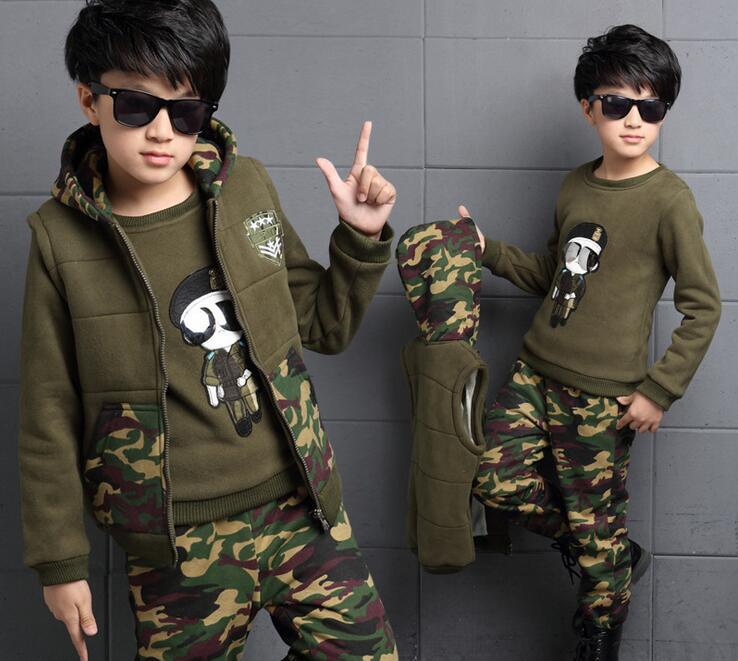 Boys Winter Clothes Children Clothing Set Boys Sport Suit Camouflage Cartton Fleece Warm 3pcs 4-15Years Kids Clothes Tracksuit<br><br>Aliexpress