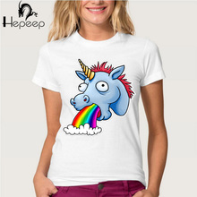 Hepeep brand+Personalized creative Design Vomiting rainbow unicorn print T-shirt women's short sleeve cute tops Ladies tee shirt