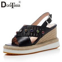 DORATASIA 2018 Cow Leather Size 34-40 Summer Sandals Shoes Women Wedge Heels  Platform Buckle Strap Party Wedding Shoes 1d5dd6cba254