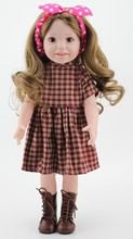 18 inch Full Vinyl Girl Dolls With Vintage Style Doll Dress Clothes And Brown Hair Wig Kids Toys For Girls