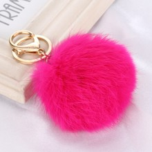 15 colors 8CM Genuine Leather Rabbit fur ball plush key chains car key rings Bag Pendant car key chain(China)
