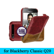 For Blackberry Classic Q20 Case,Luxury Brand 100% Genuine Leather Flip Cover Case Bag Shell for Blackberry Q20 Cases+Free Gift