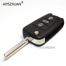 AIYSZXUAN Uncut Blade 3 Buttons Flip Remote Key Shell For Kia K2 K5 HYUNDAI KIA Car Keys Blank Case Cover With HYUNDAI LOGO