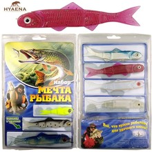 Hyaena 110Pcs Banjo 006 Minnow Incorporates New enhanced Swimming Cuts Fishing System Soft Plastic Fishing Lures Set TV Lure(China)