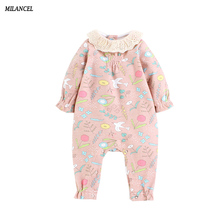 MILANCEl 2018 New Spring Baby Rompers Pink Baby Girls Jumpsuits Infant Girl Jumpers Kids Baby Outfits Cotton Girls Clothing(China)