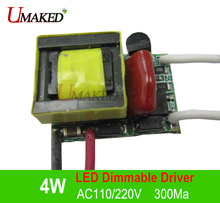 4W AC110/220V leds Dimmable Driver, 300Ma led transformer, Power supply for diy E27 B22 dimmable bulb lamp