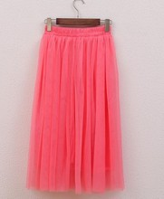FOLOBE Vintage Style Fashion Ladies 3 Layers Pleated Skirt Long Tulle Skirts  Solid Mesh Skater Skirt Tutu Skirt