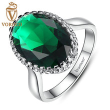 BISAER 18K Silver Color Elegant Green Big Stone Ring with Paved Created Gemstone Jewelry for Women Party and Wedding R182