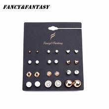 Fancy&Fantasy Earring Sets 12 Pairs Sets Round Square Ball Alloy Austria zircon Stud Earrings For Women Rose Gold Plating Gift
