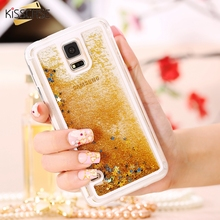 KISSCASE Quicksand Case Flowing Liquid Glitter Case For Samsung S5 i9600 Bling Star Ultra Clear Back Cover For Galaxy S6 G9200