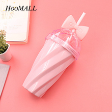 Hoomall New 420ml Plastic Water Bottle Straw Bow Candy Color Twist Suction 9.5X5.5X20cm with Diamond Shape Lid(China)