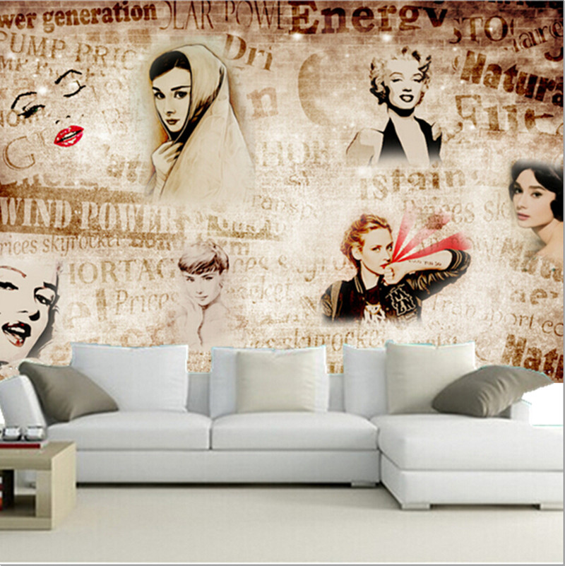 The latest 3D murals, English letter Monroe background wall picture murals, living room TV sofa bedroom wall paper<br>