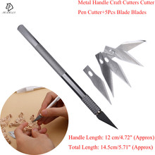 1 set/ Metal Handle Scalpel, Blade Knife Wood Paper Cutter Craft Pen Knives,Engraving DIY craft cutter Hand Tools(China)
