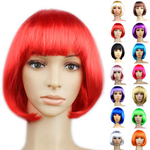 14 Colors Party Wig Great For Fancy Dress Parties Women'S Lady Sexy Short Bob Cut Full Hair Wigs Cosplay Costume Party 15Cm
