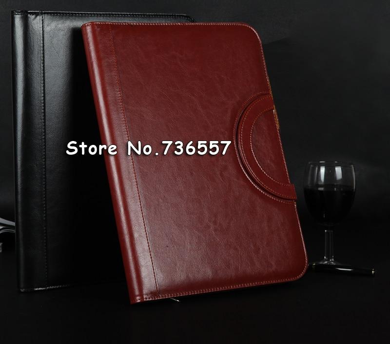 black brown business zipper PU leather portfolio a4 documents folder cases manager bag Tablet PC mobile padfolio binder<br>