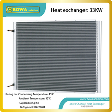 33KW U shape micro-channel condenser without fan for industrial water chiller or air conditioner or dry chamber