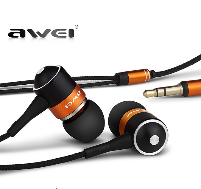 AWEI ES Q3 High quality 3.5mm Jack Noise Isolation In-ear Style Earphone for MP3/MP4 Players(China (Mainland))