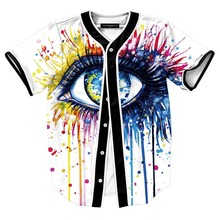 Mens Buttons Homme 3D Shirt Streetwear Tees Shirts Hip Hop Color big eyes Custom Made Baseball Jersey  size M-XXL