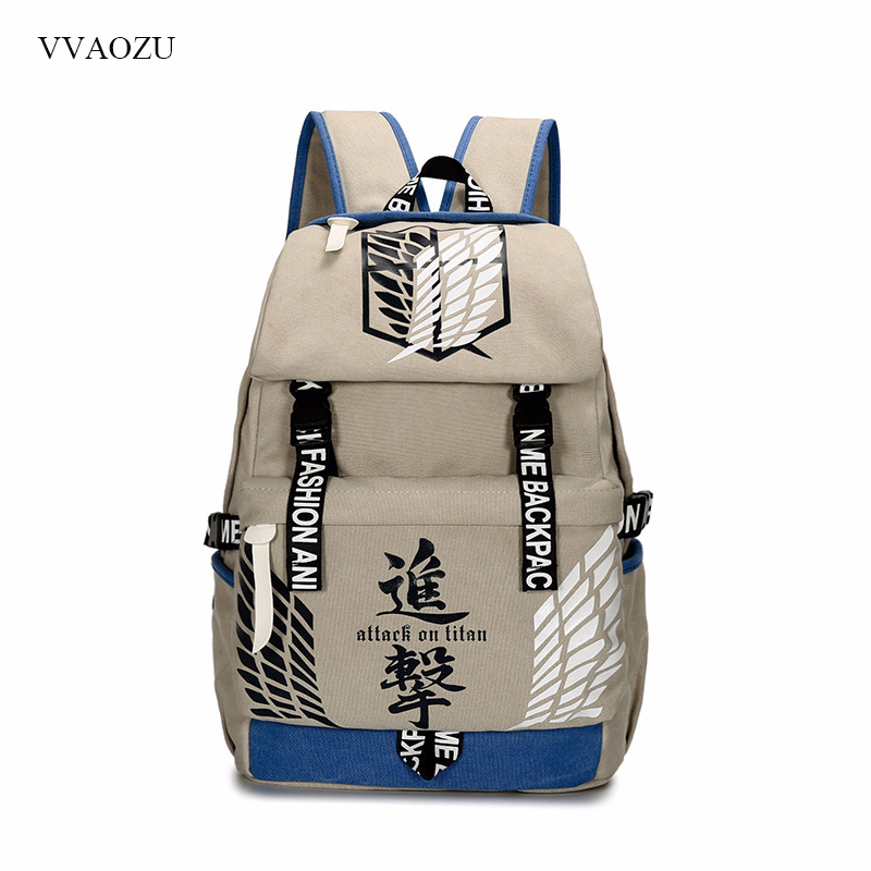 Attack on Titan Tokyo Ghoul Gintama Canvas Backpack Travel Schoolbag Large Capacity Rucksack Shoulder School Bag Mochila Escolar<br>
