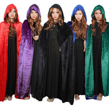 Halloween Costume for Women Hooded Death Elf Magician Witch Cloak Cape Robe Fantasia Adulto Cosplay Clothing Black Red Blue(China)