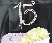 1 pcs Large Silver plated Number 15 Rhinestone Cake topper wholesale for Birthday Party