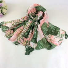 Banana Leaves Print Scarf Head Wrap Muslim Hijab Cotton Scarf And Scarves Women Scarf Luxury Brand(China)