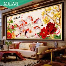 New 5D Diamond Painting Round Diamond nine fish for the living room decoration Diamond Embroidery Diamond Mosaic Crystle Picture(China)