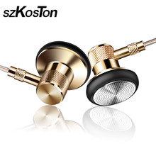 3.5mm Golden Skin Headset With Mic Metal Earbuds single crystal copper wired Earphones Handsfree Call For Android IOS Phone(China)