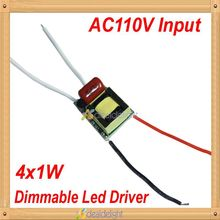 5pcs/lot  4W 4X1W Dimmable Driver AC110V To DC12V 300mA 50/60Hz For LED Spotlight Blub Brightness Adjust Free Shipping
