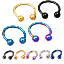 1Pc Surgical Stainless Steel Circular Barbells Horseshoe Fake Nose Ring Lip Body Piercing Earring Tragus Ring Gold Silver Plated