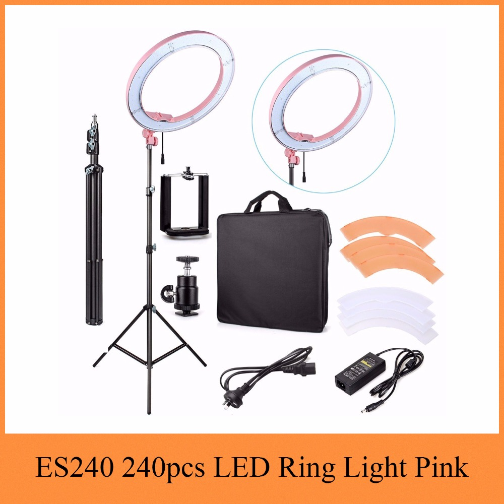 "ES240 240pcs LED 18"" Stepless Adjustable Ring Light Camera Photo/Video Portrait photography 240pcs LED 5500K Dimmable Pink color(China)"