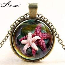 Starfish Design Glass Statement Necklace Ocean Cute Pink  Marine life Vintage Silver Jewelry Halobios Pendant Necklace kids B115
