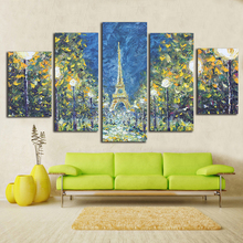 Eiffel Tower Modular Picture Paintings Canvas Paris City Pattern 5 Panel Kit Wall Art Oil Painting Style Printed On Canvas(China)