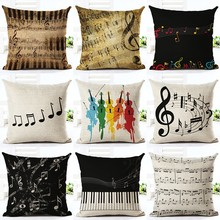 Music Series Note Printed Linen Cotton Square 45x45cm Home Decor Houseware Throw Pillow Cushion Cojines Almohadas HH069(China)