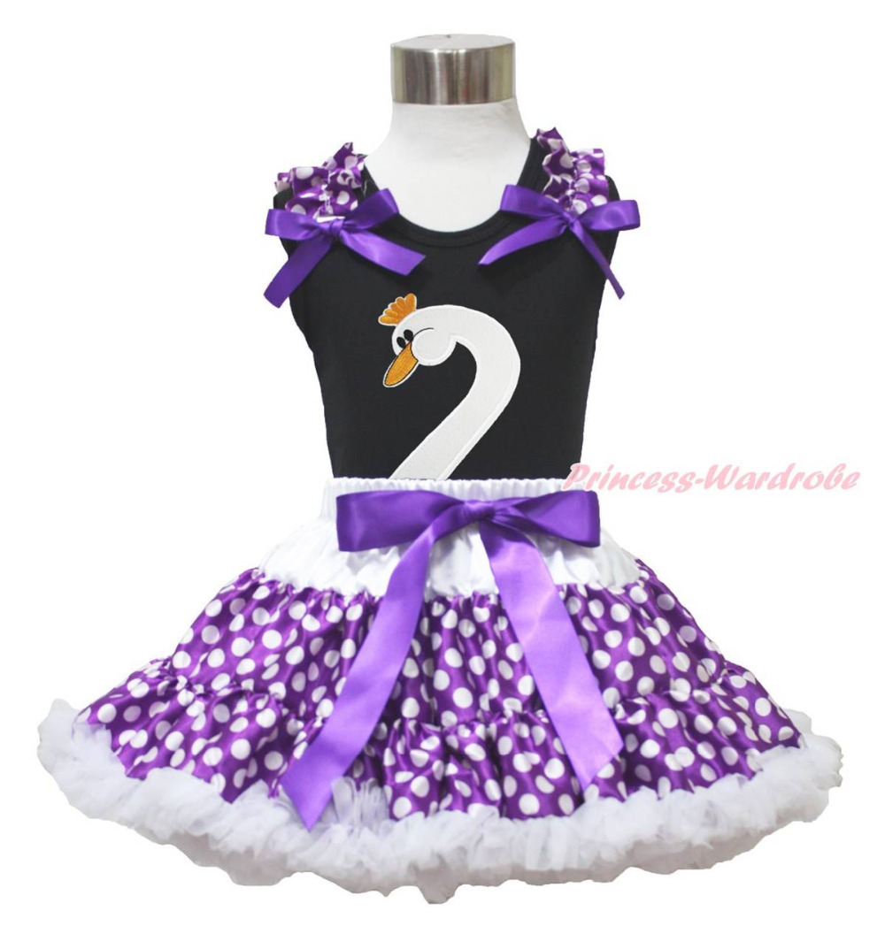 Easter Black Top Goose Swan Purple White Polka Dots Skirt Girl Cloth Outfit 1-8Y MAPSA0750<br>