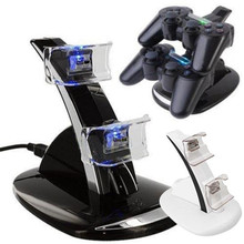 Black LED Light Dual USB Powered Charging Dock Stand Holder Charger For Sony PlayStation 3 PS3 Controller Game Accessories