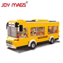 JOY MAGS Toy Enlighten Toy Yellow Bus City Transport Vehicle Building Blocks Kids Gift 30131 DIY Model Collection