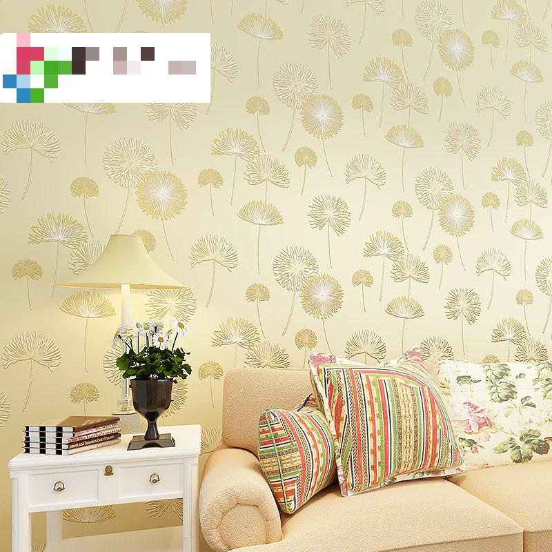 Dandelion Bedroom Garden Style Wallpaper Embossed Pink Wallpaper For Baby Room Papel De Parede Listrado Tapety Wallpaper Roll<br>